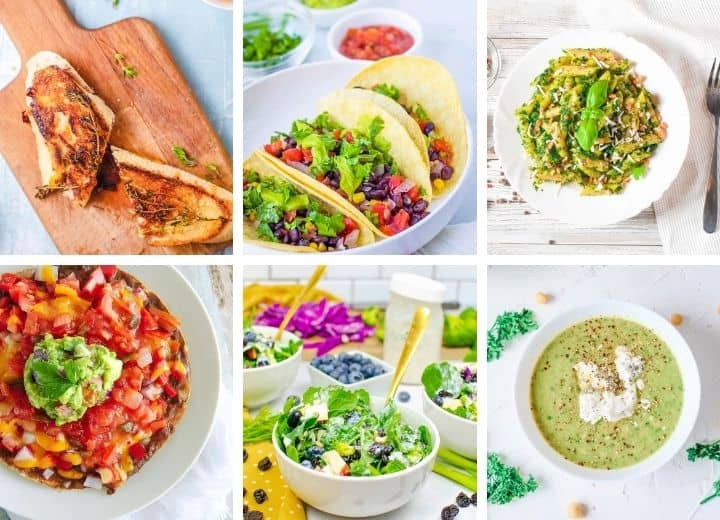 30 minute vegetarian meals collage: grilled cheese, tacos, pesto pasta, Mexican pizza, green salad, asparagus soup