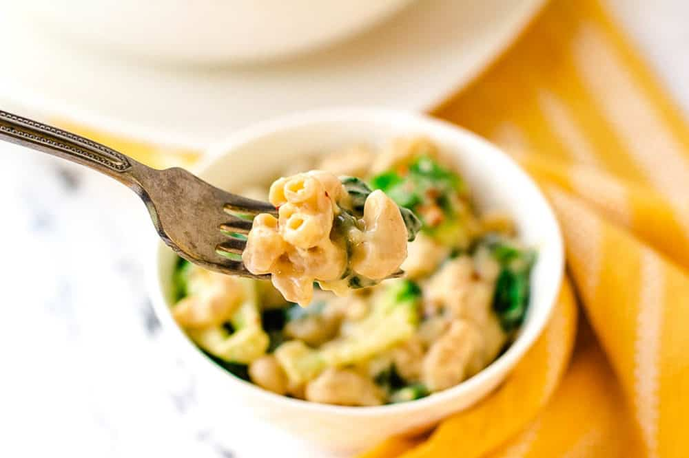 forkful of healthy mac and cheese