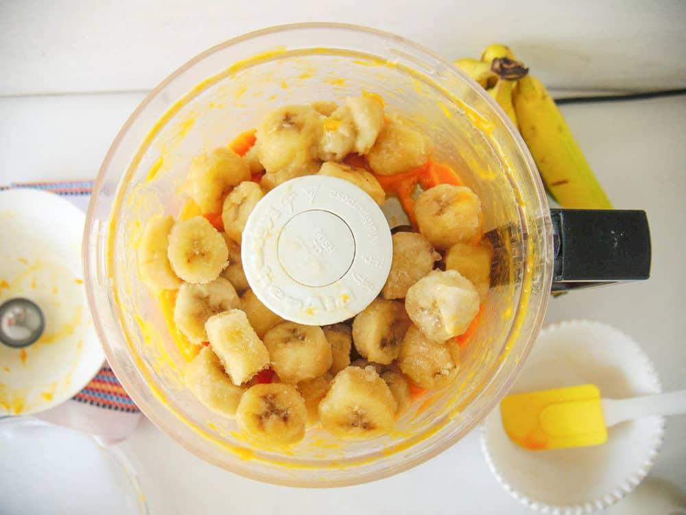 bananas in a food processor