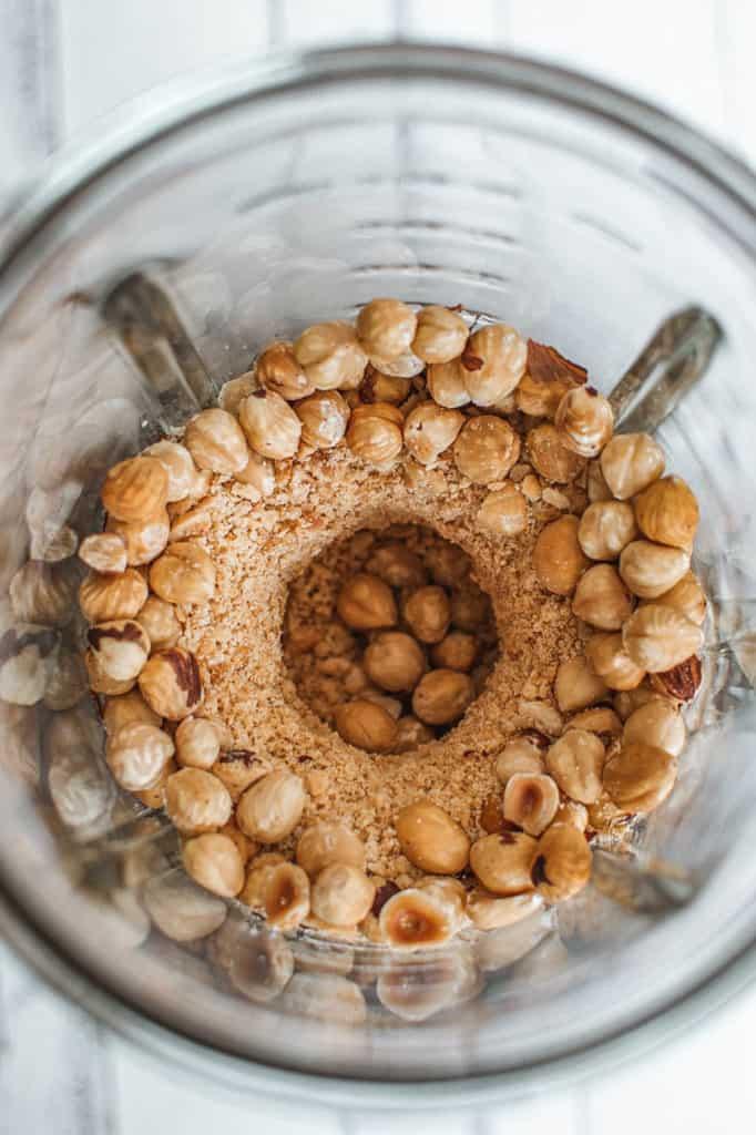 hazelnuts in a blender