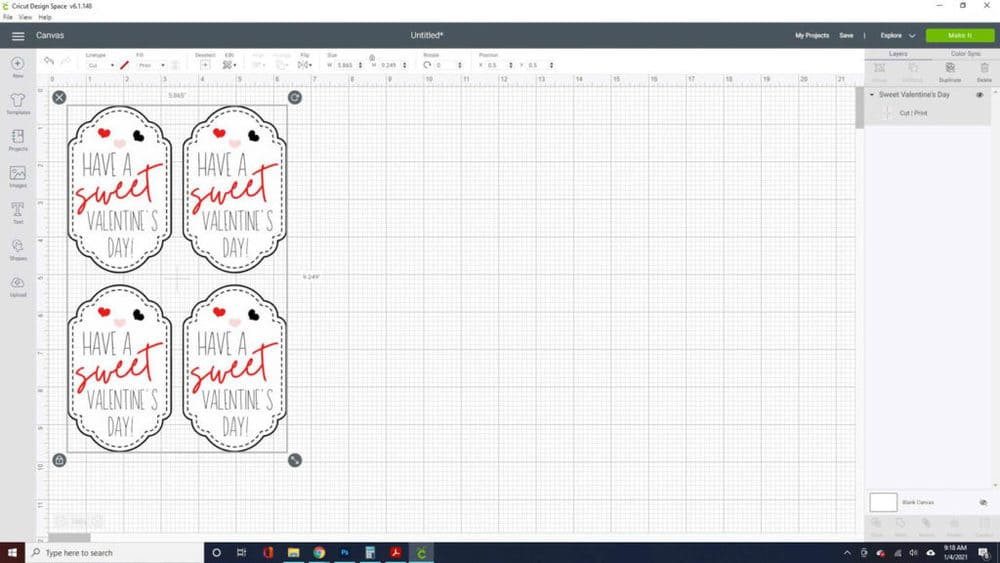 cricut process for handmade valentines day cards