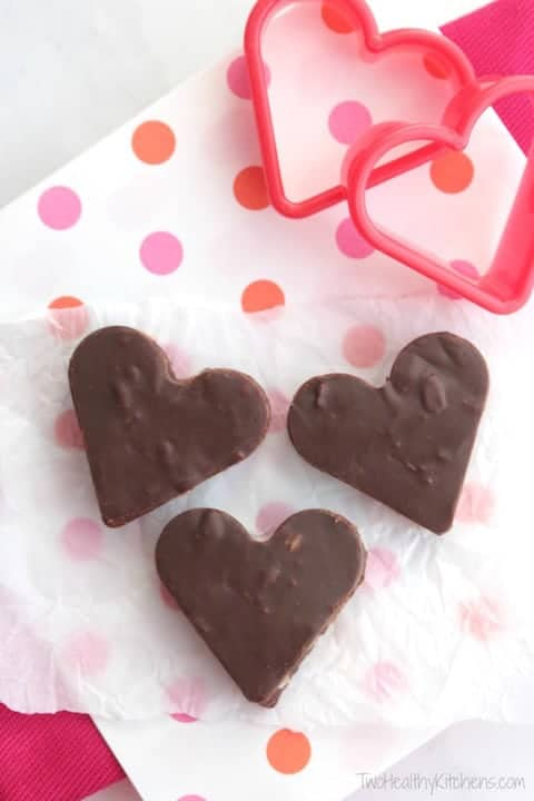 romantic desserts for two, chocolate fudge hearts on polka dot napkin