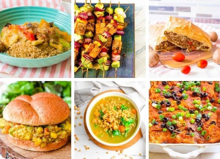 beginner vegan recipes collage including ratatouille, tofu skewers, vegan wellington, vegan sloppy joes, dahl, and enchiladas