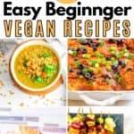 beginner vegan recipes collage