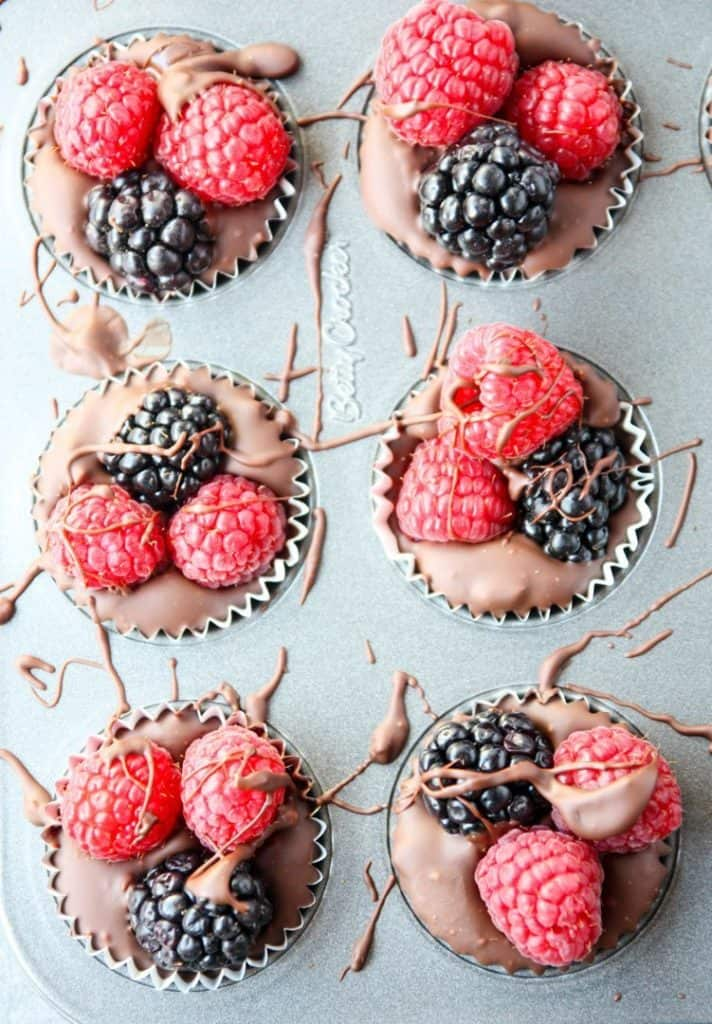 chocolate filled berry cups with raspberries and blackberries romantic desserts for two