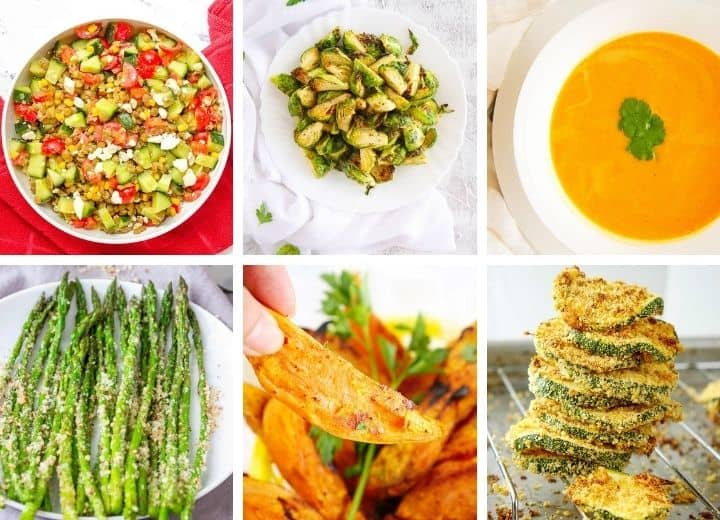 30 healthy side dishes collage - soups salads and more
