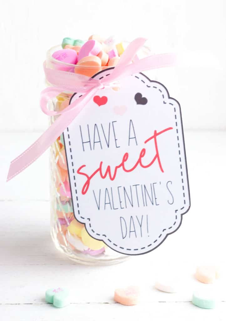 i love you jar - valentines day candy jar with a handmade tag