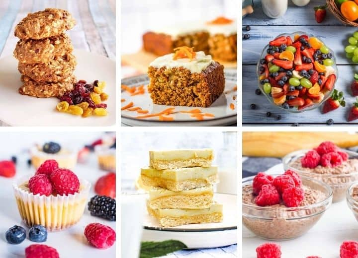 collage of low sugar desserts - healthy fruit salad, cheesecake bites, carrot cake, chocolate pudding, etc