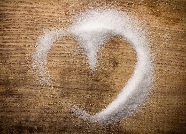 sugar swirl on wooden cutting board - used in low sugar desserts