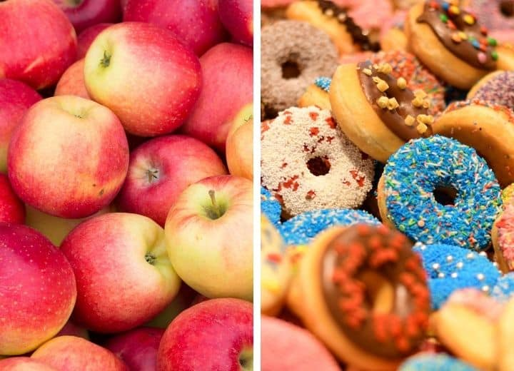 apples - best low sugar desserts vs. donuts - worst