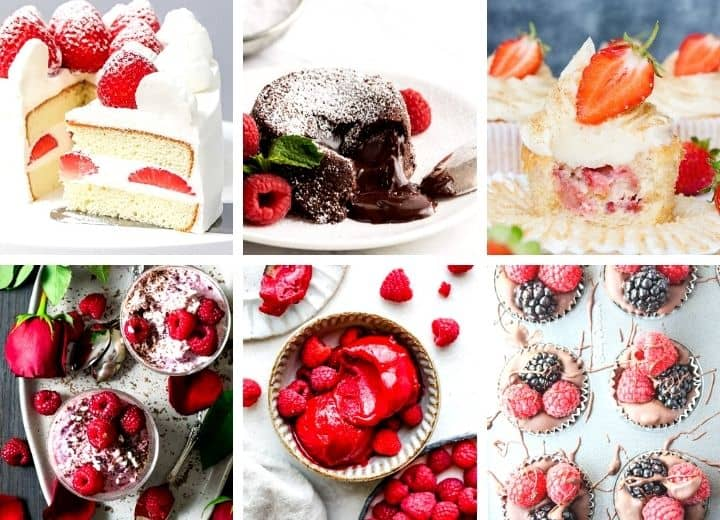 collage of romantic desserts for two