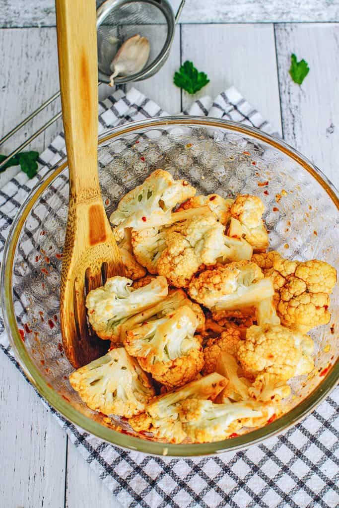 cauliflower tossed in spicy sauce