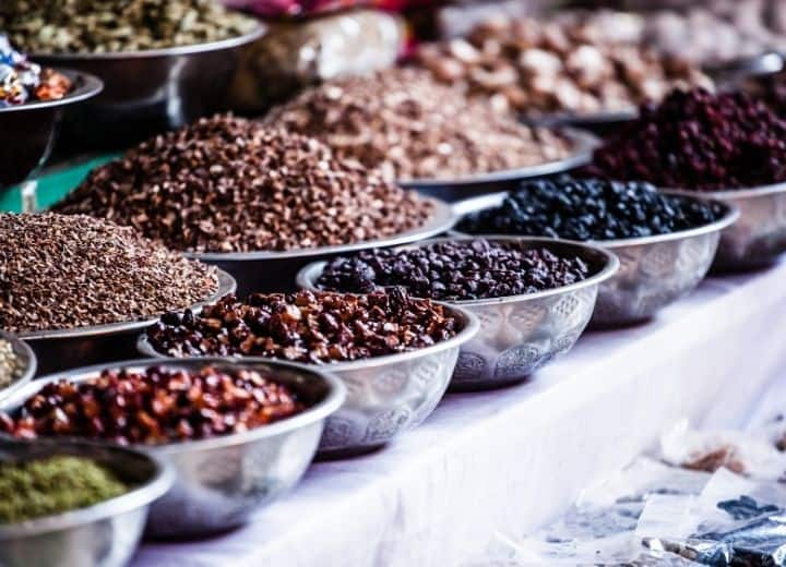 assortment of spices used in vegetarian indian recipes