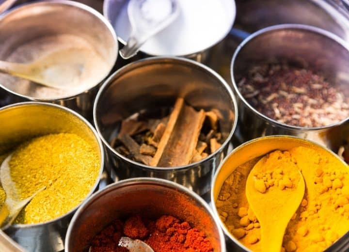spice tin commonly used in vegetarian indian recipes