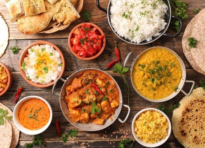 assortment of dals and curries