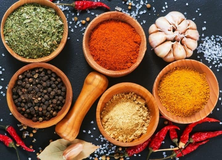 photo of spices used in vegetarian Mexican recipes