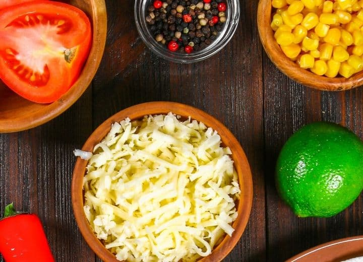 photo of cheese and ingredients used in vegetarian Mexican recipes