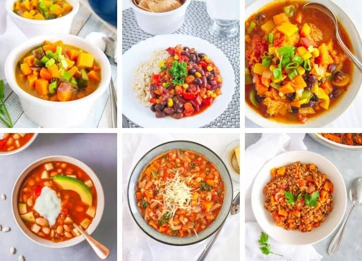 a collage of vegetarian stew recipes including sweet potato stew, black bean stew, white bean stew, Tuscan Italian Stew, and Indian Stew