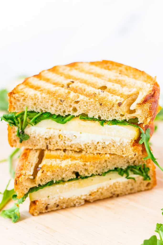 goat cheese grilled cheese with arugula and pear