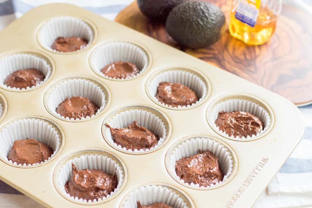 muffin tin filled with cupcake batter