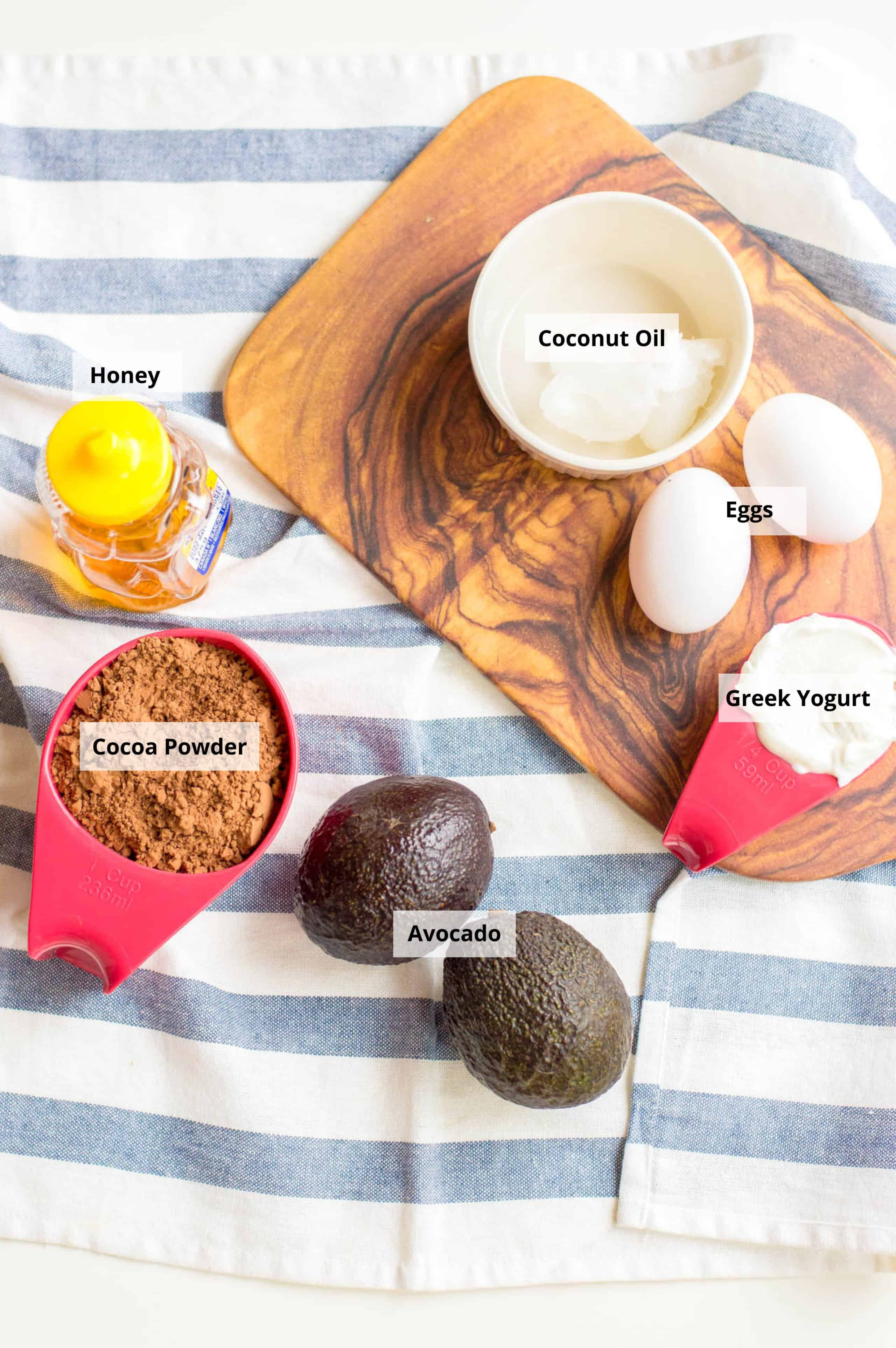 ingredients for healthy chocolate cupcakes