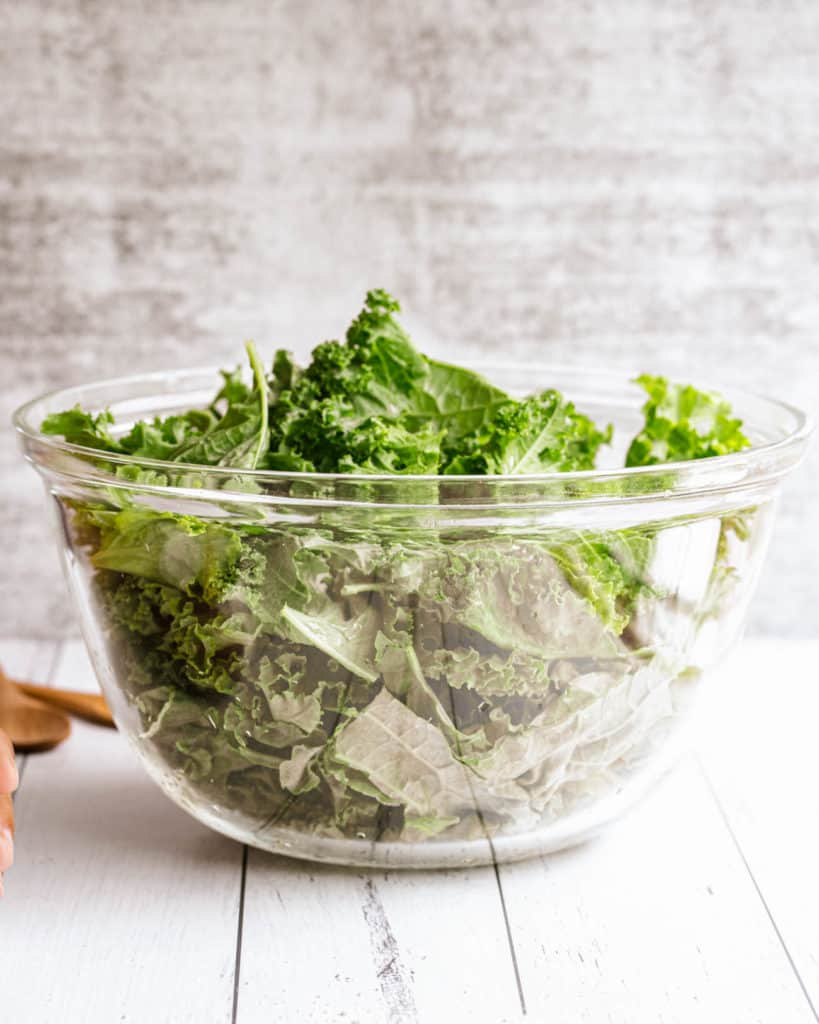 kale in a glass bowl