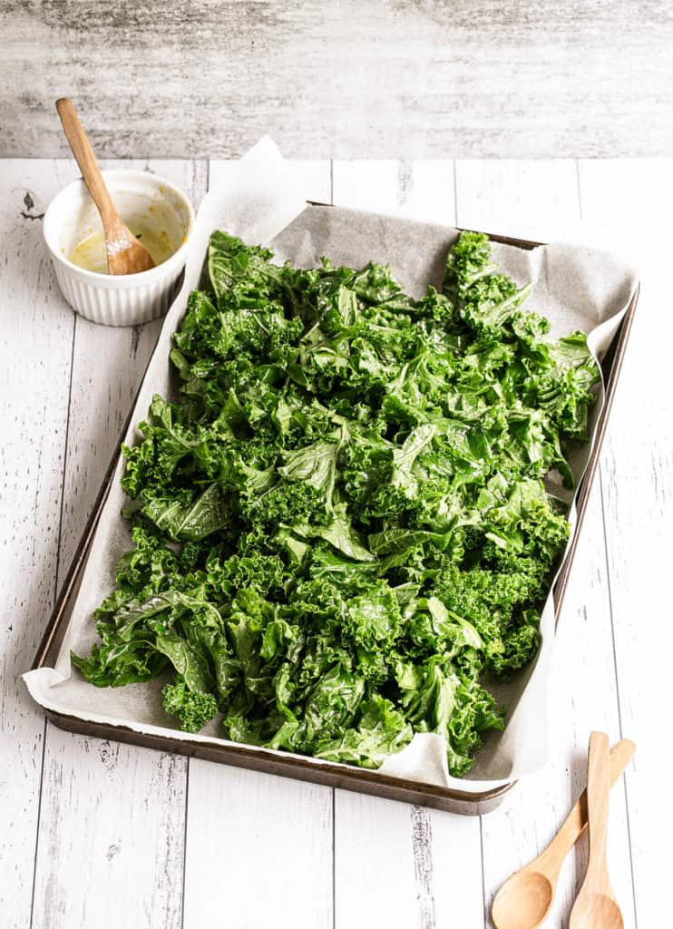 kale on a baking sheet