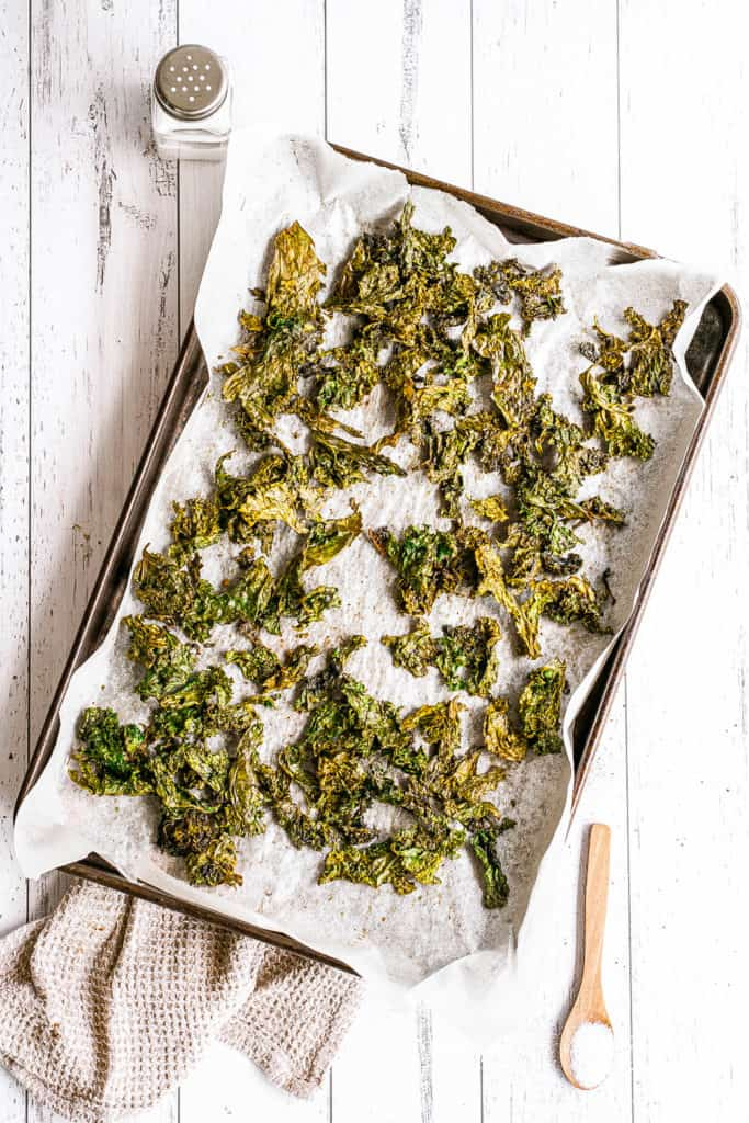 kale chips out of the oven
