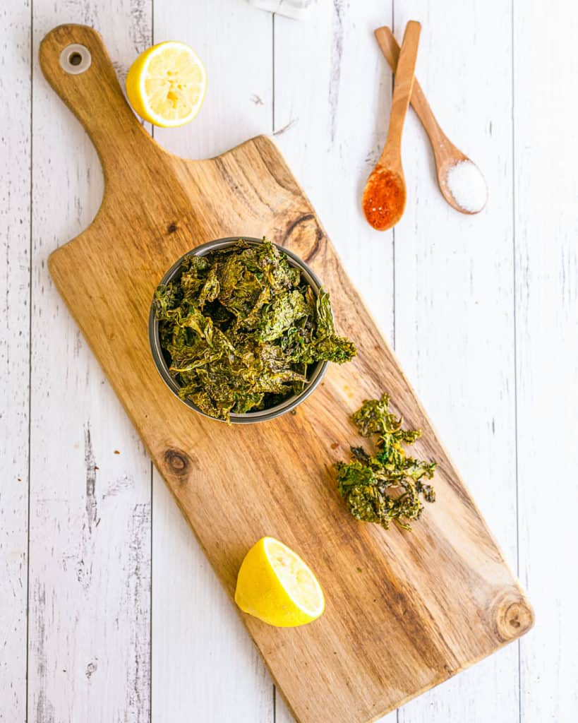 Garlic Parmesan Oven Baked Kale Chip Recipe in a white bowl