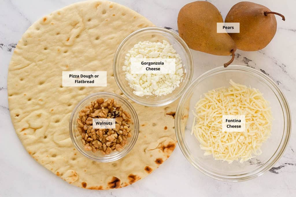 ingredients for pear gorgonzola pizza