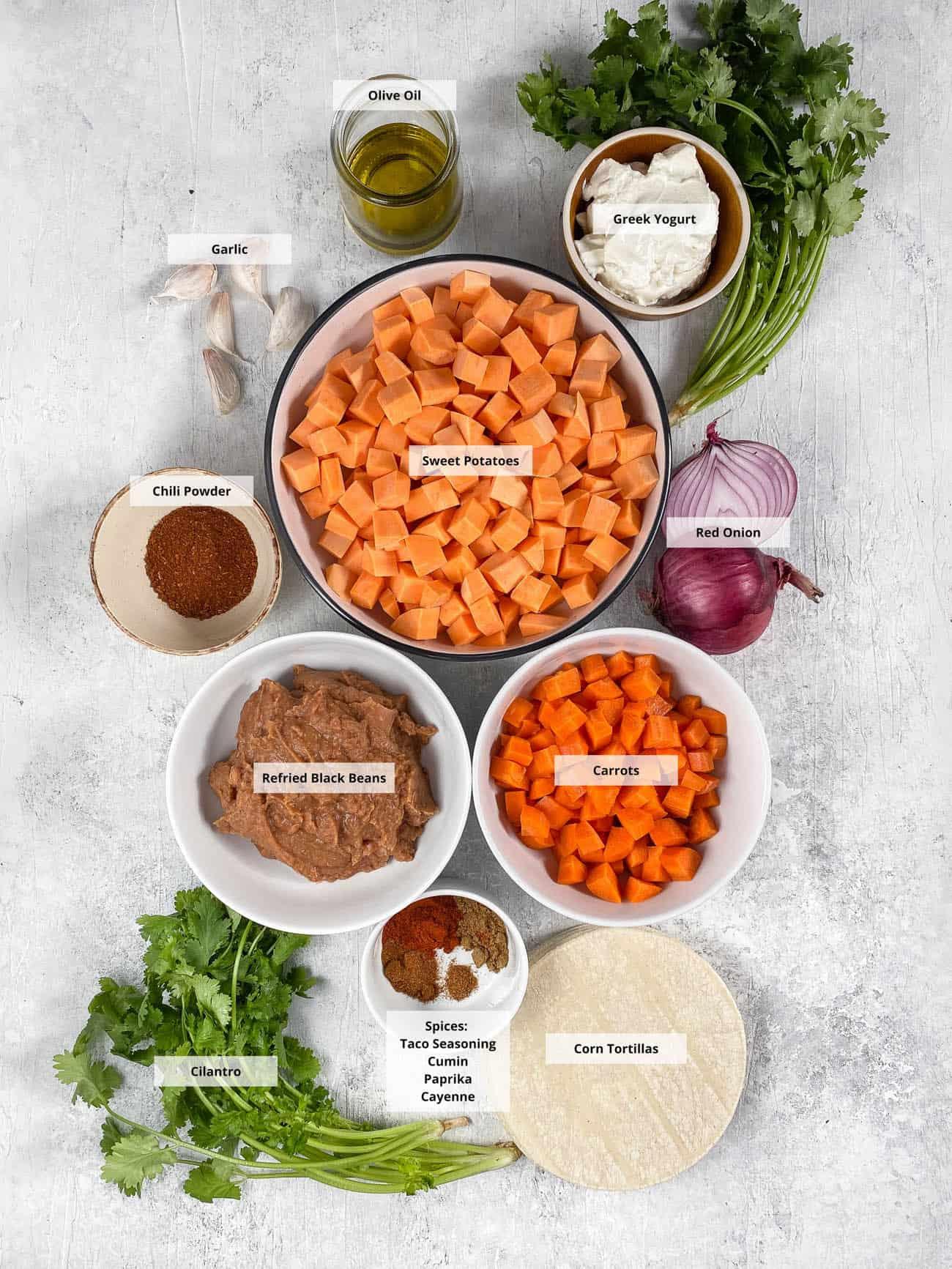 sweet potato tacos ingredients