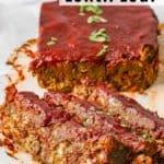 vegan lentil loaf on white serving tray