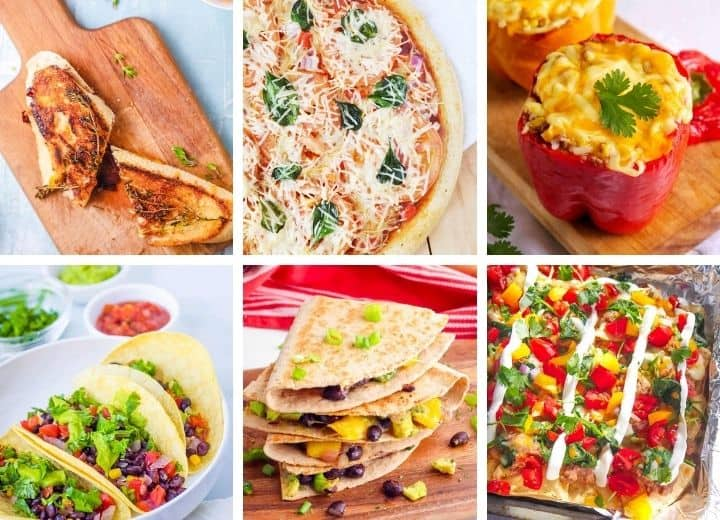 vegetarian recipes for picky eaters collage including grilled cheese, pizza, stuffed peppers, black bean tacos, black bean quesadilla, and tacos