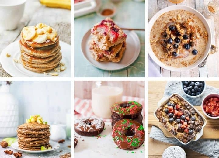 collage of vegetarian breakfast recipes for picky eaters including pancakes, chocolate doughnuts, french toast bake, oatmeal with berries,