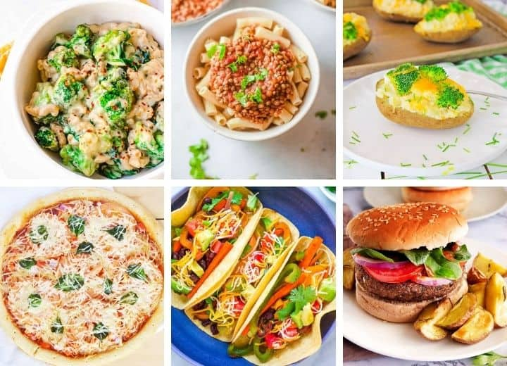 collage of vegetarian recipes for picky eaters including mac and cheese with broccoli, lentil pasta, baked potato with cheese and broccoli, black bean burger, vegetarian fajitas, and pizza