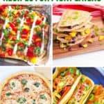 nachos, quesadillas, pizza, and tacos