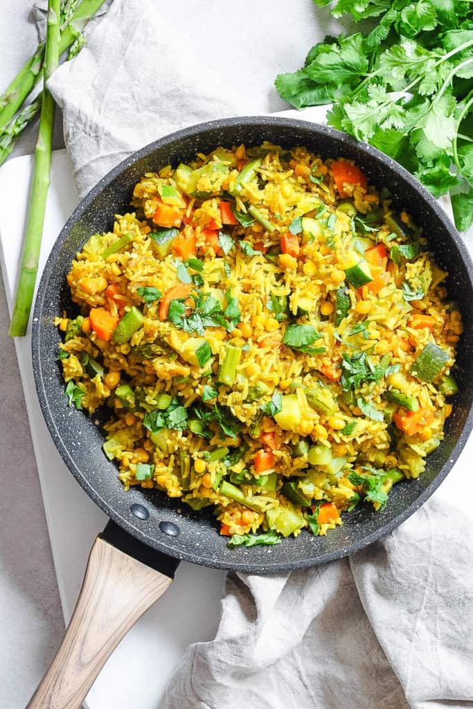 indian fried rice in a large pot