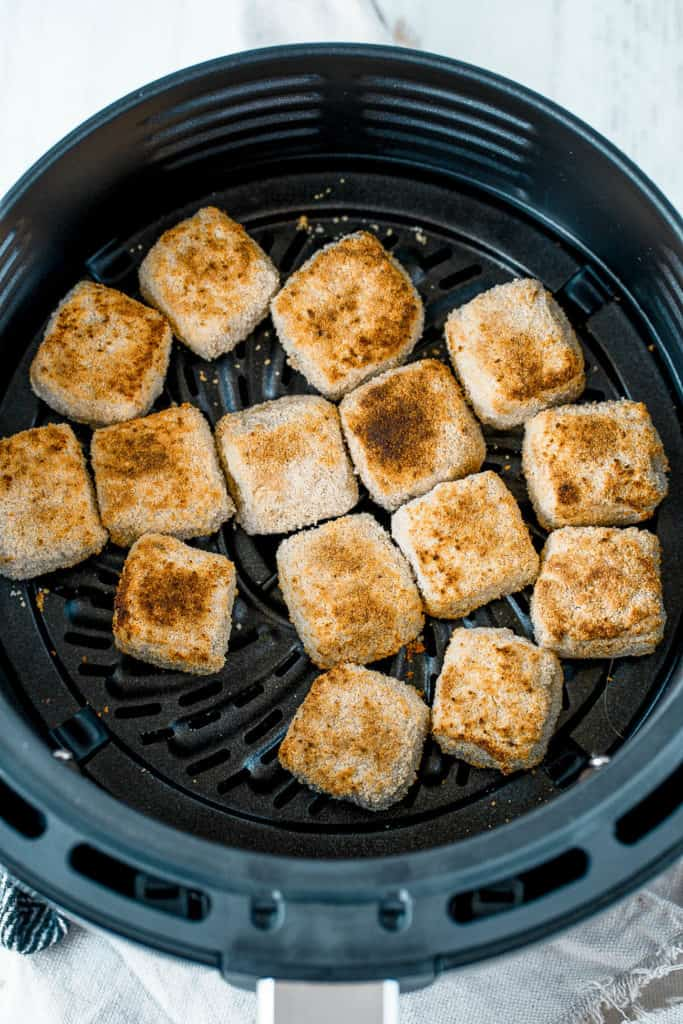 tofu nuggets fresh out of the air fryer