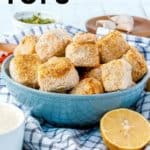 breaded tofu bites in blue bowl