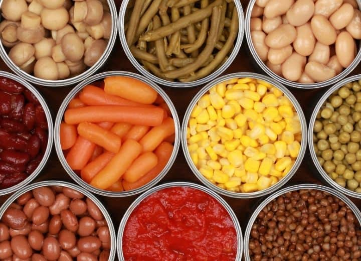 canned beans and vegetables