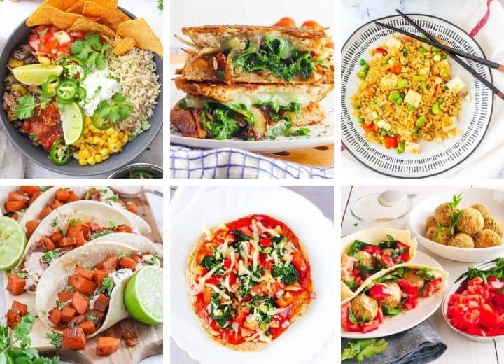collage of easy college meals for students