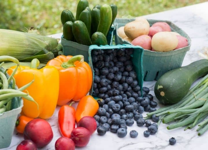fresh vegetables beans, peppers, tomatoes, blueberries, zucchini, scallions, green beans, potatoes - all included on a vegetarian grocery list