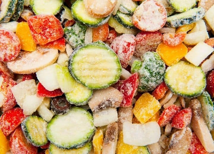 mixed frozen vegetables - included on a vegetarian grocery list