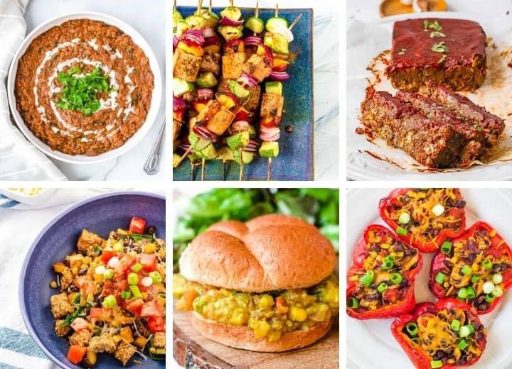 high protein vegetarian recipes collage: dal makhani, tofu skewers, lentil loaf, tofu scrambple, pav bhaji, chili stuffed peppers