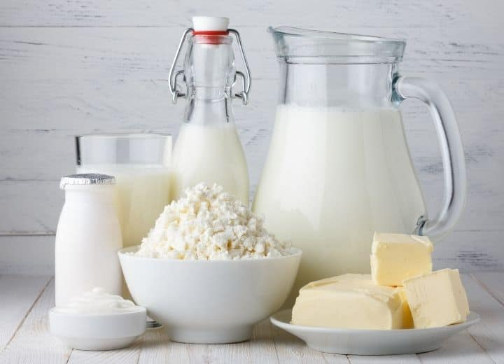 dairy foods: milk, butter, feta cheese