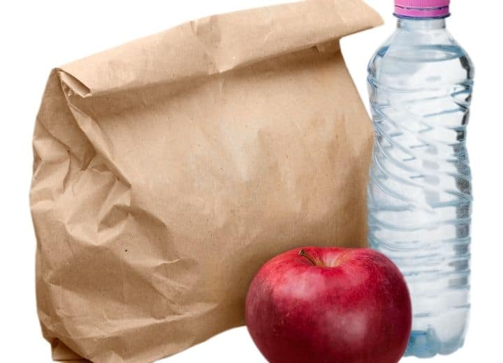 paper bag lunch with apple and water