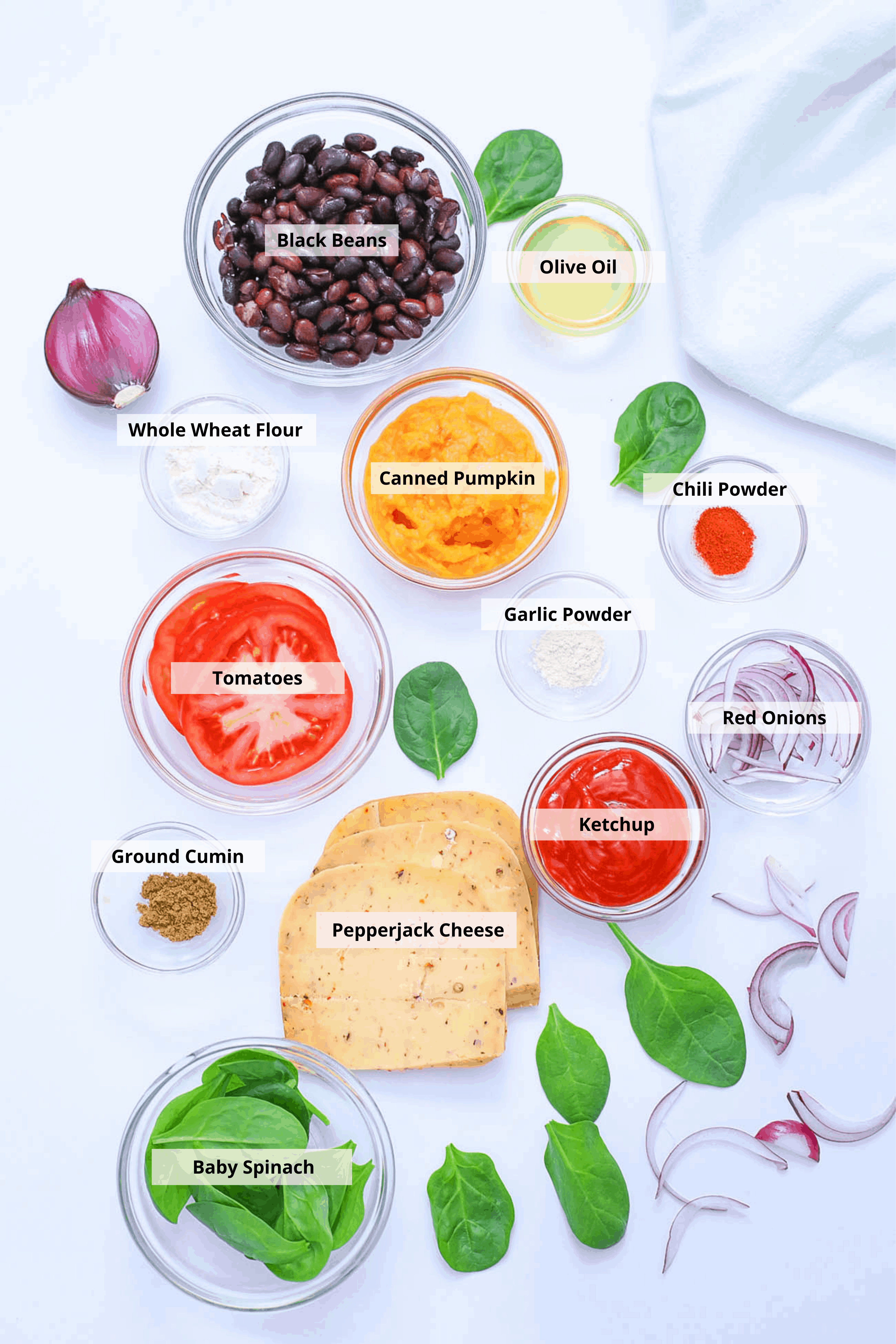ingredients for pumpkin burgers - black bean pumpkin burgers