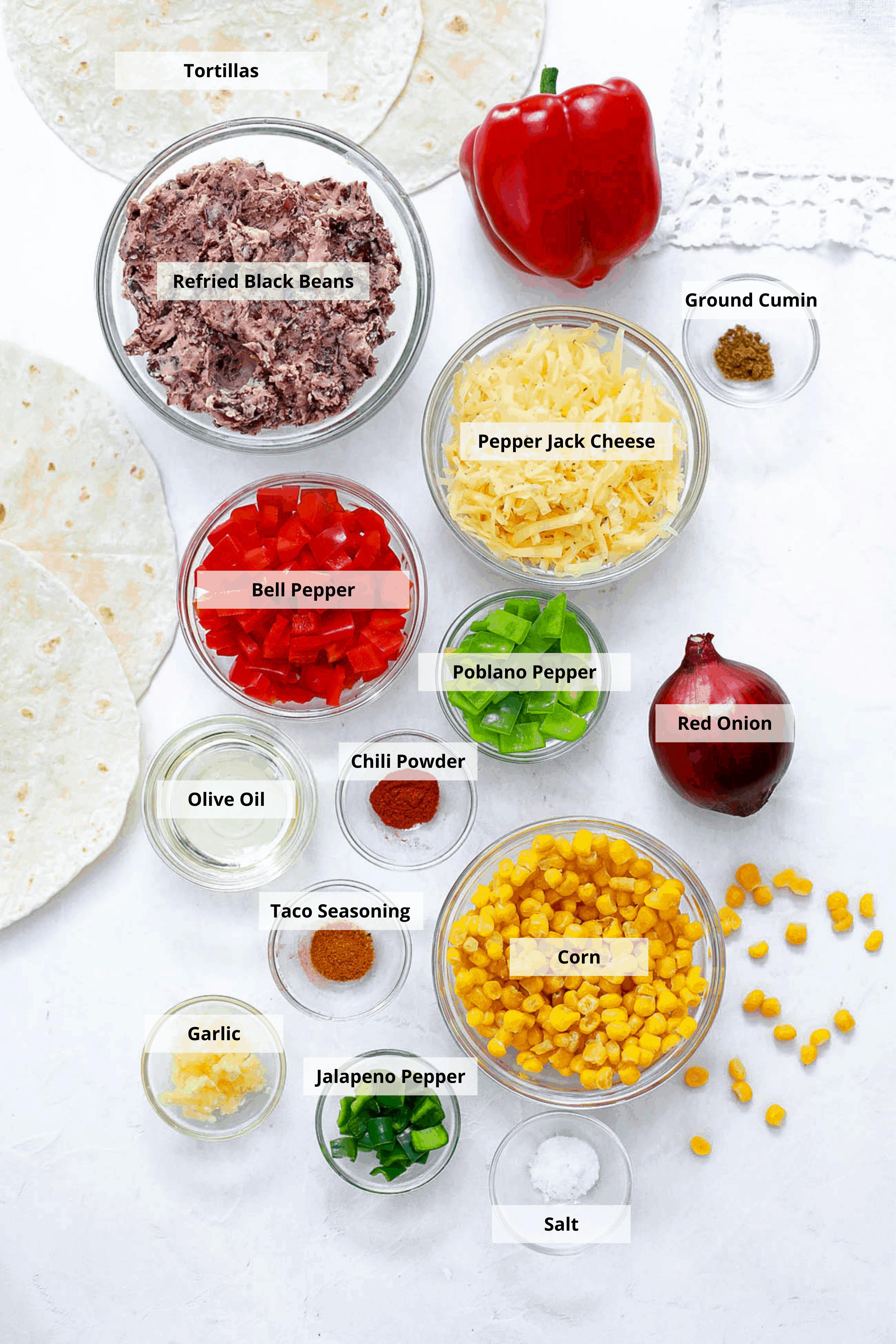 ingredients for black bean quesadillas