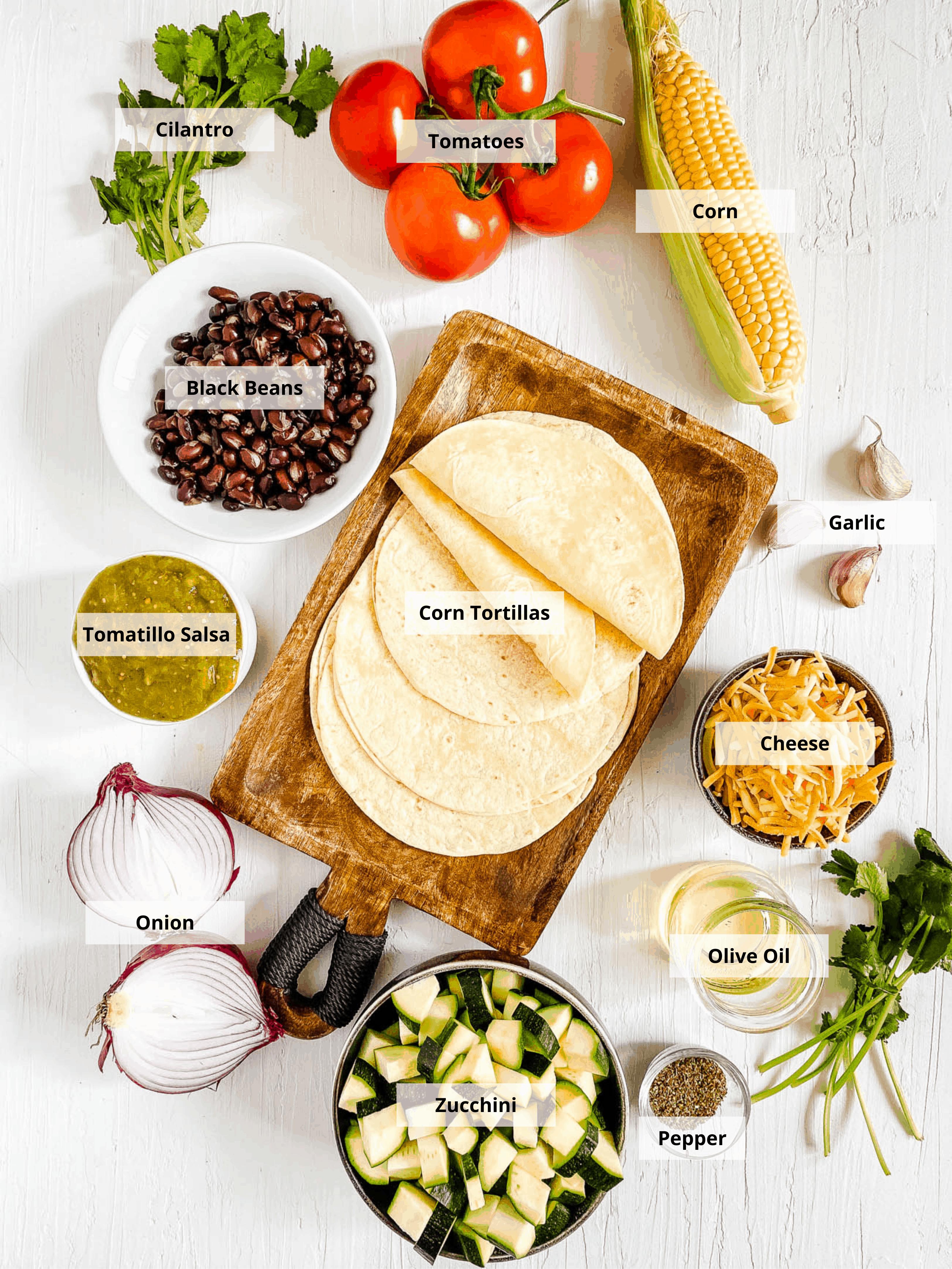 ingredients for black bean tostadas