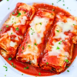 lasagna rolls - pasta rolls on a white plate